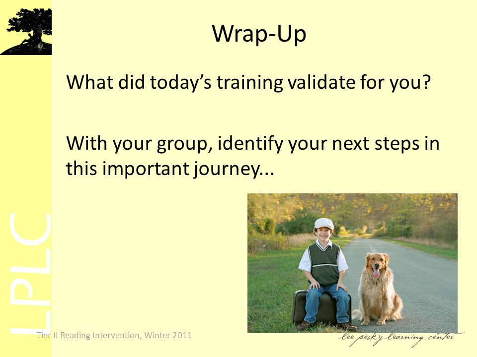 LPLC Tier II Reading Intervention, Winter 2011 Wrap-Up What did today's training validate for you.