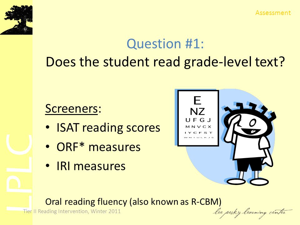 LPLC Tier II Reading Intervention, Winter 2011 Question #1: Does the student read grade-level text.