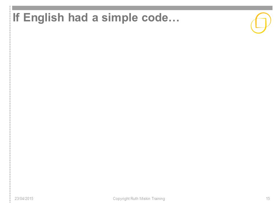 If English had a simple code… 23/04/2015Copyright Ruth Miskin Training15