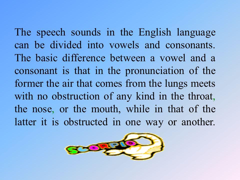 Classification of English speech sounds