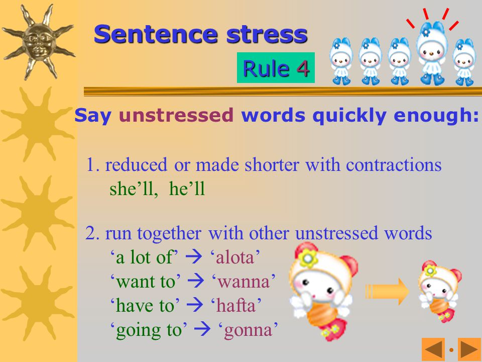 Stressed words are: Longer, louder and slightly higher in pitch than unstressed words. Sentence stress Rule 3