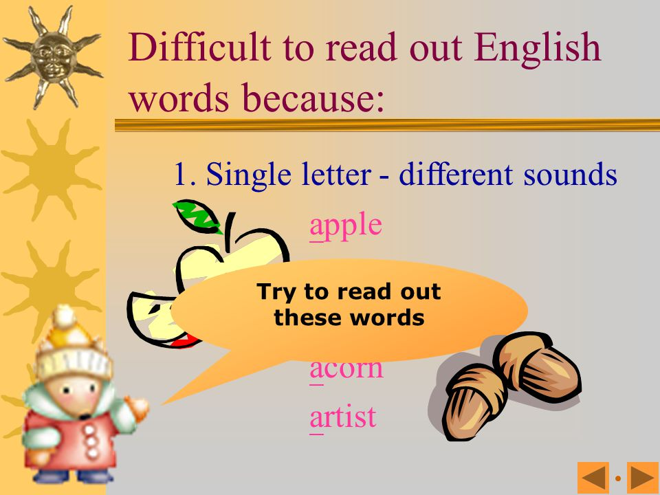 English has only 26 letters 5 written vowels: ( 母音 ) 21 written consonants ( 子音 ) a, e, i, o, u 20 different vowel sounds 24 consonant sounds But 44 d