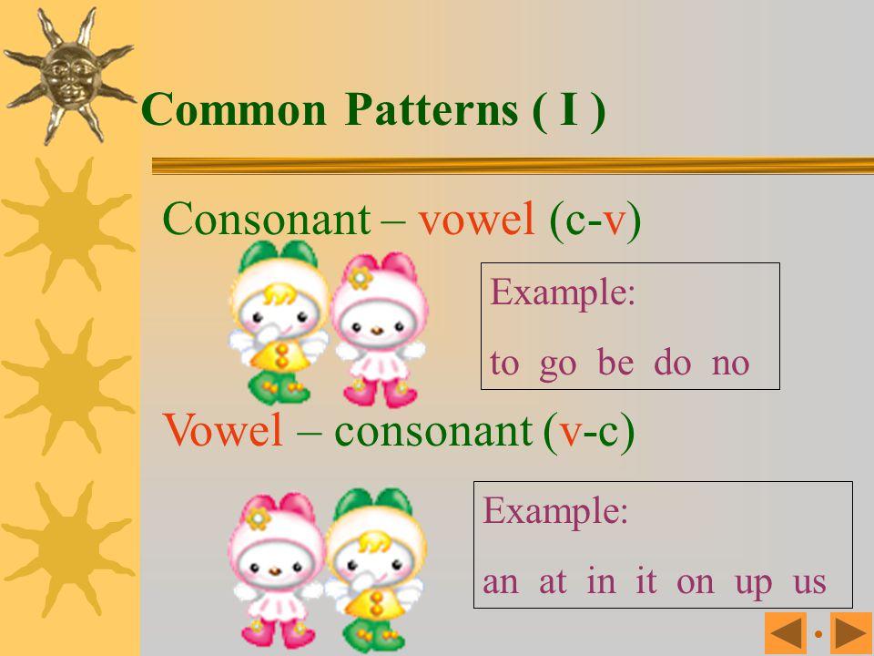 Single consonants and short vowels PatternPositionExample Single consonantsInitialb, c, d, f, g, h, j, k, l, m, n, q, p, r, s, t, u, v, w, x, y, z Sho