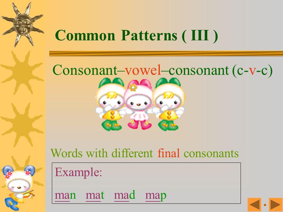 Consonant–vowel–consonant (c-v-c) Rhyming words with different initial consonants Example: man can ran pan van fan Common Patterns ( II )