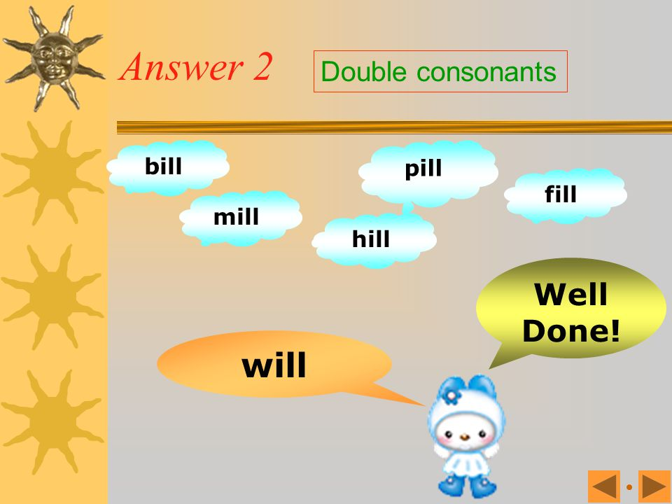 Exercise 2 well bill mill pill fill hill will wall Double consonants