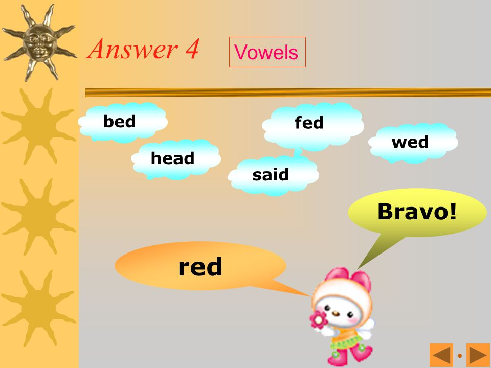 Exercise 4 rod bed head fed wed said rid red Vowels