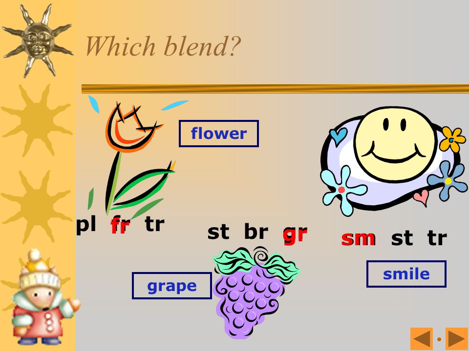 Which blend? gl fr fl cr sm pl fr tr cr cr tr fr crayon trousers frog