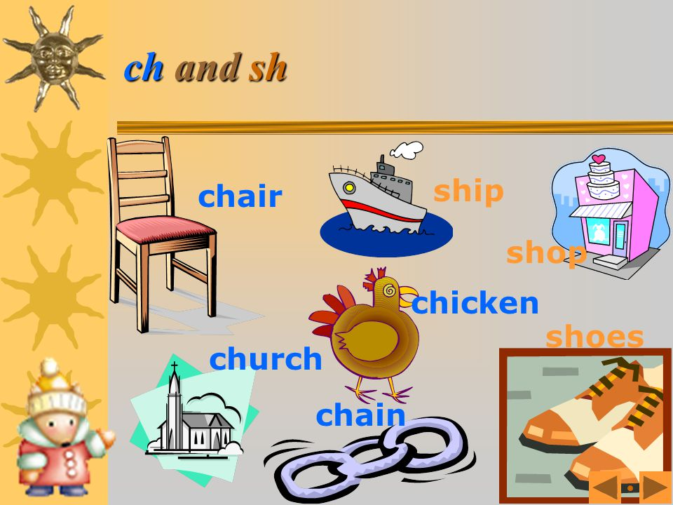 ch and sh Which begins with ch? Which begins with sh?