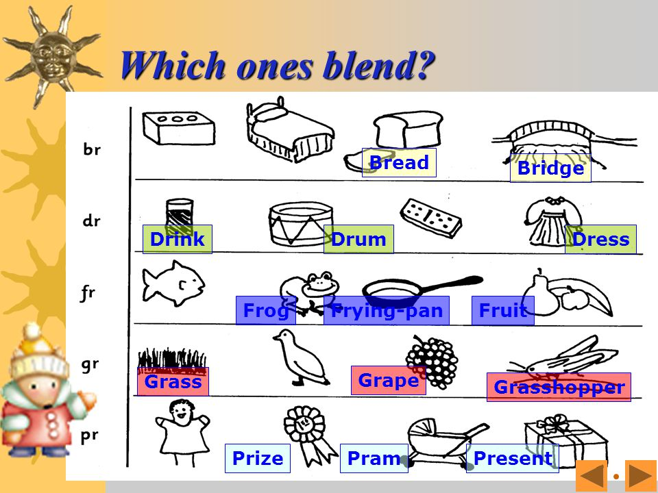 Which ones blend? Find out which object begins with which sound.