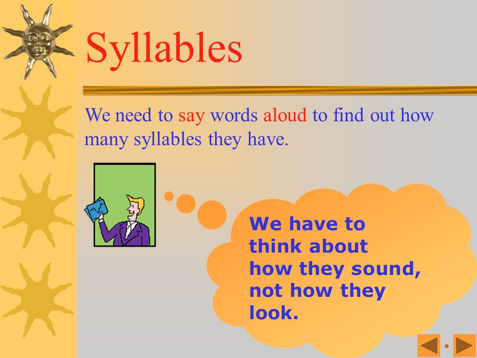 English words break into sound units, or beats, which are called 'syllables'. Syllables Every syllable contains at least one vowel.