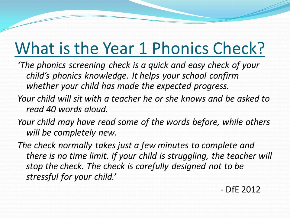 What is the Year 1 Phonics Check.