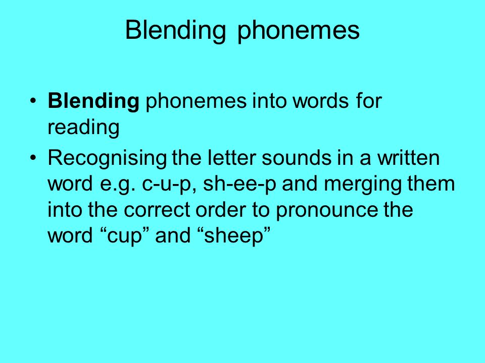 Segmenting Phonemes Segmenting phonemes into words for spelling by identifying the individual sounds in a spoken word, starting with simple CVC words (eg c a t) and writing down letters for each sound (phoneme) to form the word.
