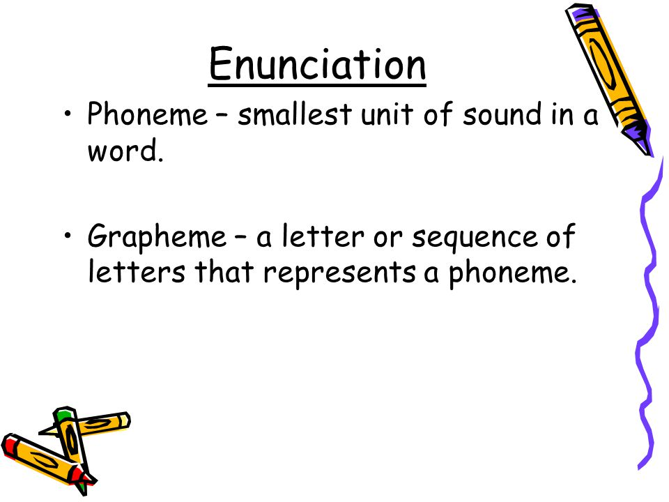 Enunciation Phoneme – smallest unit of sound in a word. Grapheme – a letter or sequence of letters that represents a phoneme.