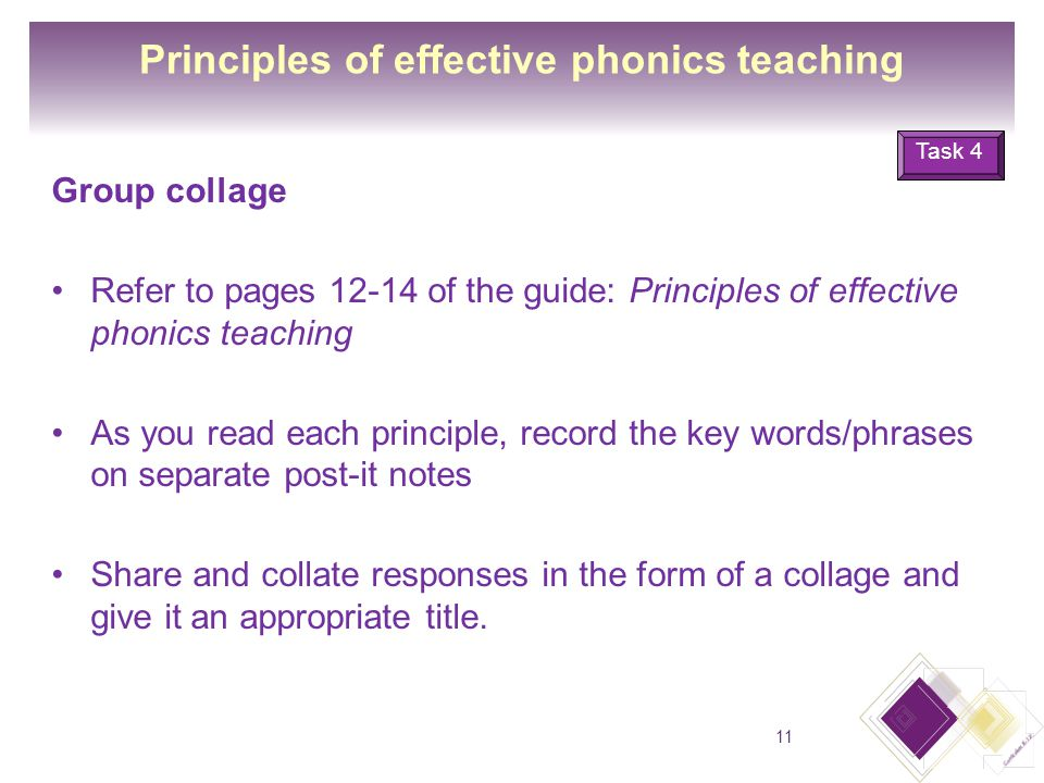 Principles of effective phonics teaching Group collage Refer to pages 12-14 of the guide: Principles of effective phonics teaching As you read each principle, record the key words/phrases on separate post-it notes Share and collate responses in the form of a collage and give it an appropriate title.