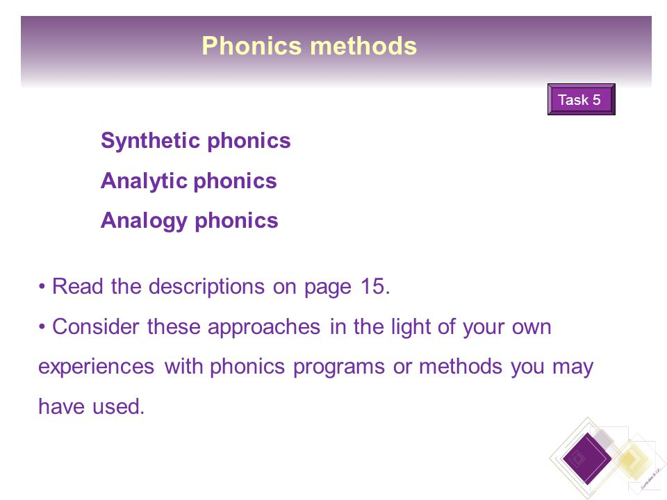 12 Phonics methods Read the descriptions on page 15.