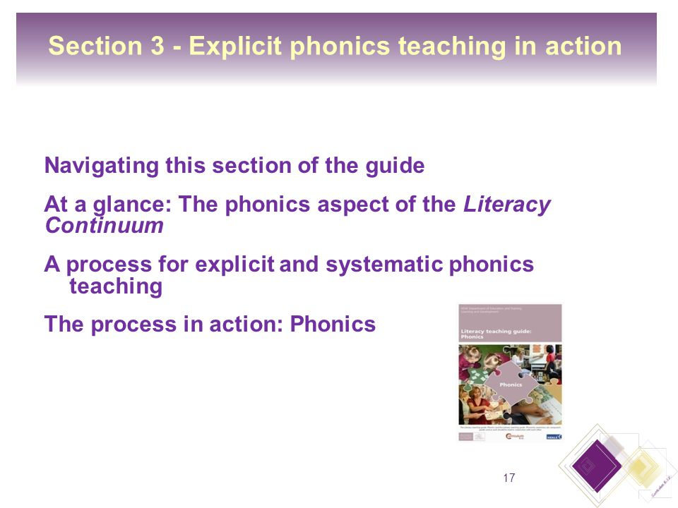 Section 3 - Explicit phonics teaching in action Navigating this section of the guide At a glance: The phonics aspect of the Literacy Continuum A process for explicit and systematic phonics teaching The process in action: Phonics 17