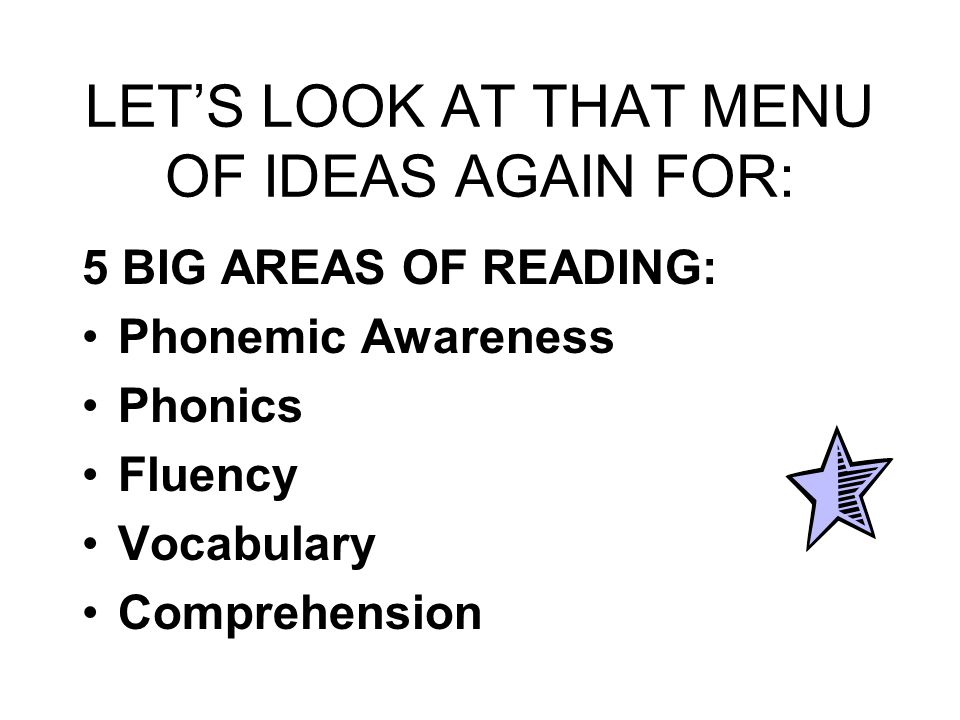 LET'S LOOK AT THAT MENU OF IDEAS AGAIN FOR: 5 BIG AREAS OF READING: Phonemic Awareness Phonics Fluency Vocabulary Comprehension