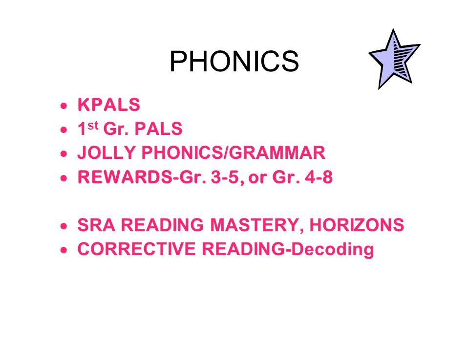 PHONICS  KPALS  1 st Gr. PALS  JOLLY PHONICS/GRAMMAR  REWARDS-Gr.