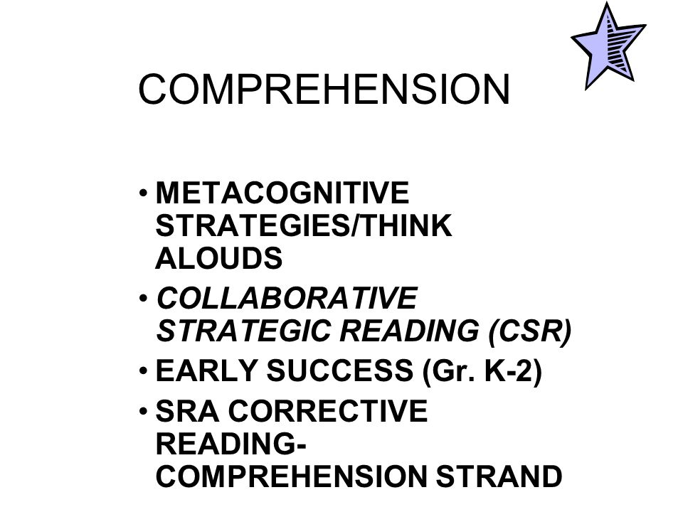 COMPREHENSION METACOGNITIVE STRATEGIES/THINK ALOUDS COLLABORATIVE STRATEGIC READING (CSR) EARLY SUCCESS (Gr.