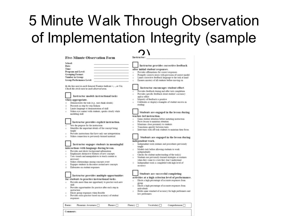 5 Minute Walk Through Observation of Implementation Integrity (sample 2)