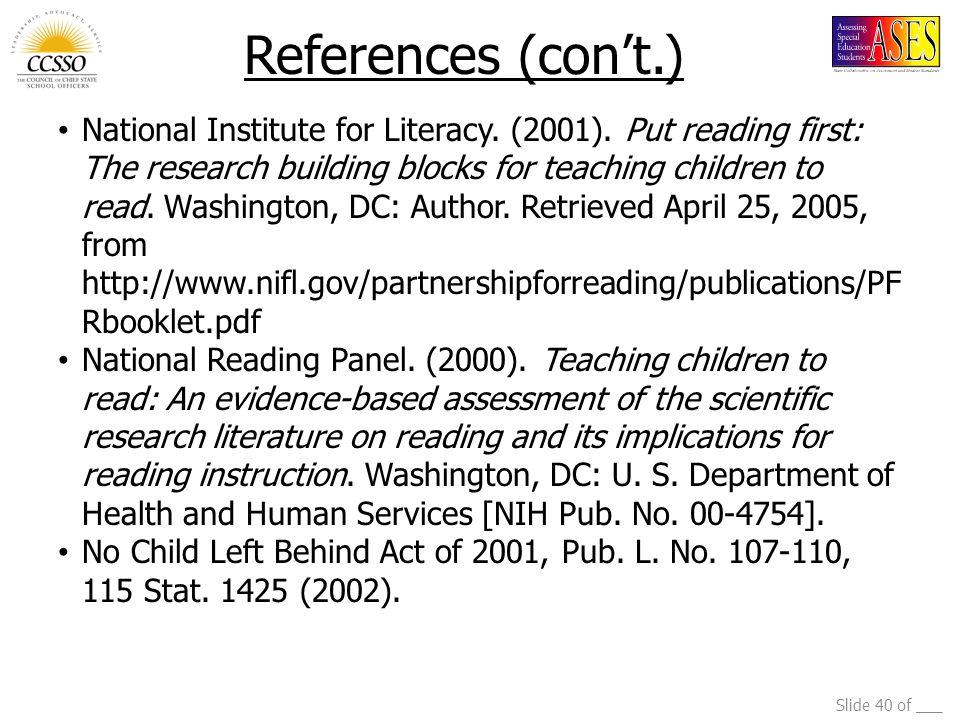 Slide 40 of ___ National Institute for Literacy. (2001).