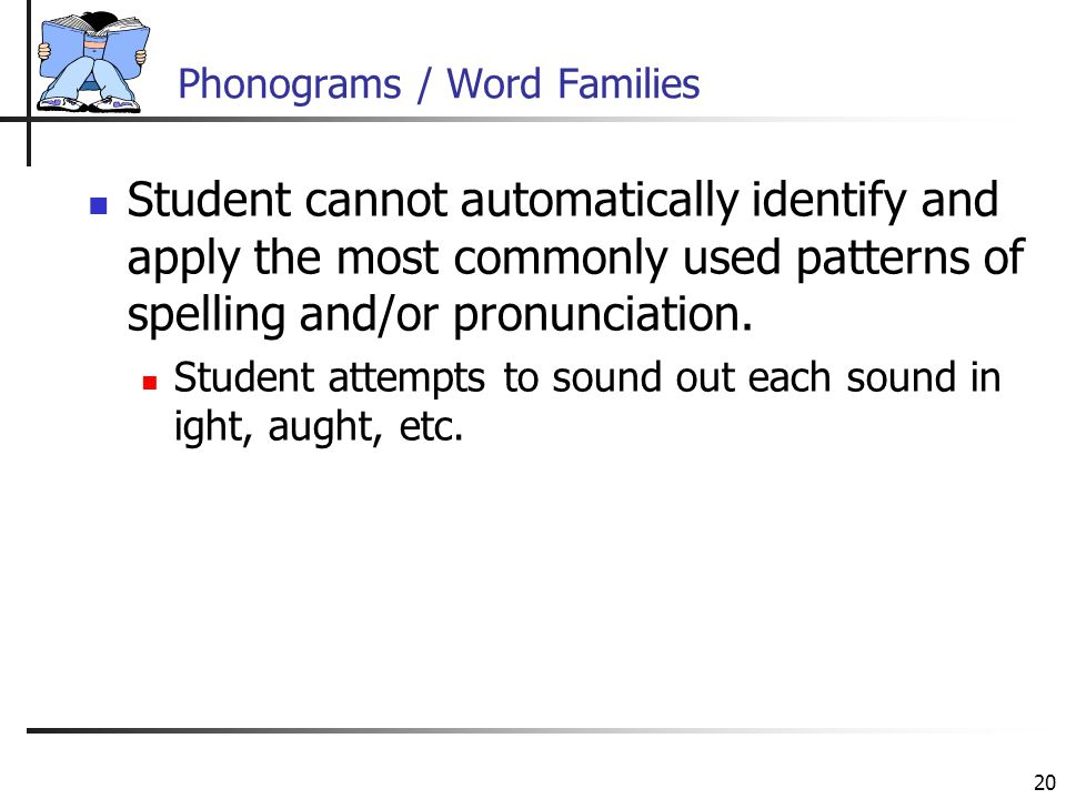 20 Phonograms / Word Families Student cannot automatically identify and apply the most commonly used patterns of spelling and/or pronunciation.