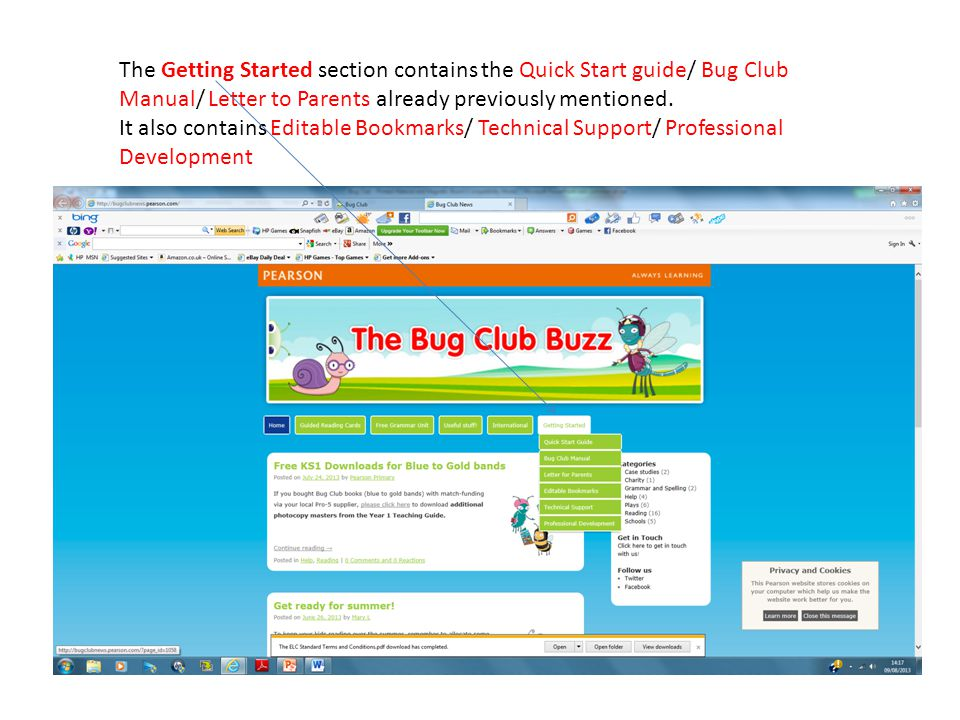 The Getting Started section contains the Quick Start guide/ Bug Club Manual/ Letter to Parents already previously mentioned. It also contains Editable