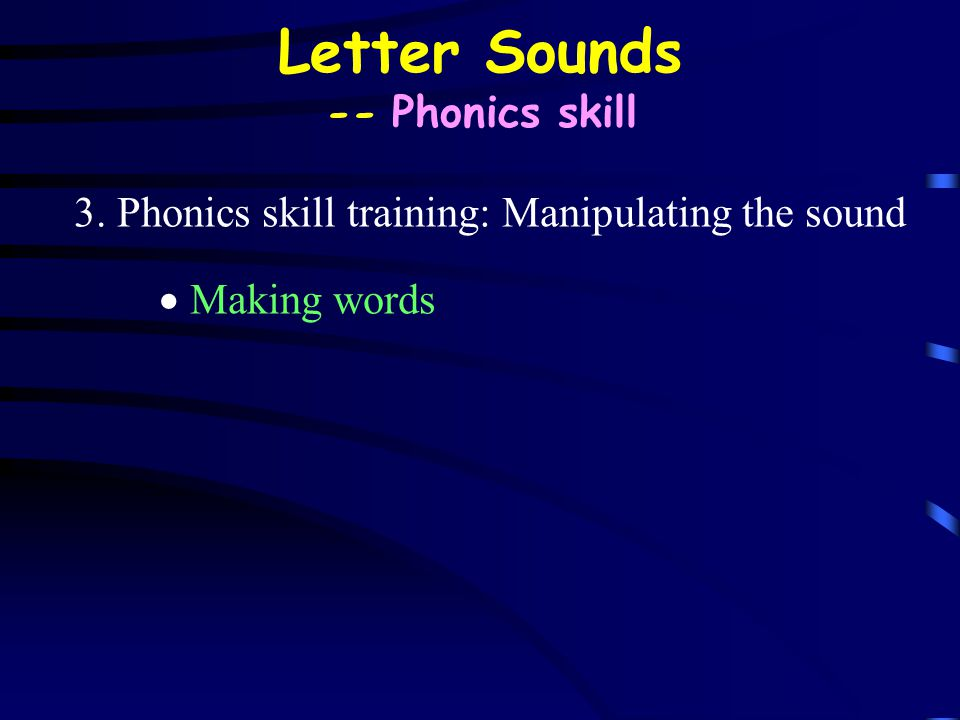 Letter Sounds -- Phonics skill 3. Phonics skill training: Manipulating the sound  Making words