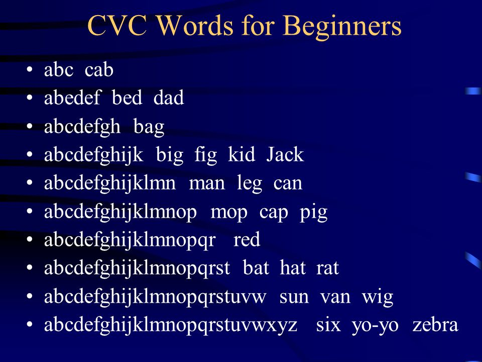 CVC Words for Beginners abc cab abedef bed dad abcdefgh bag abcdefghijk big fig kid Jack abcdefghijklmn man leg can abcdefghijklmnop mop cap pig abcde