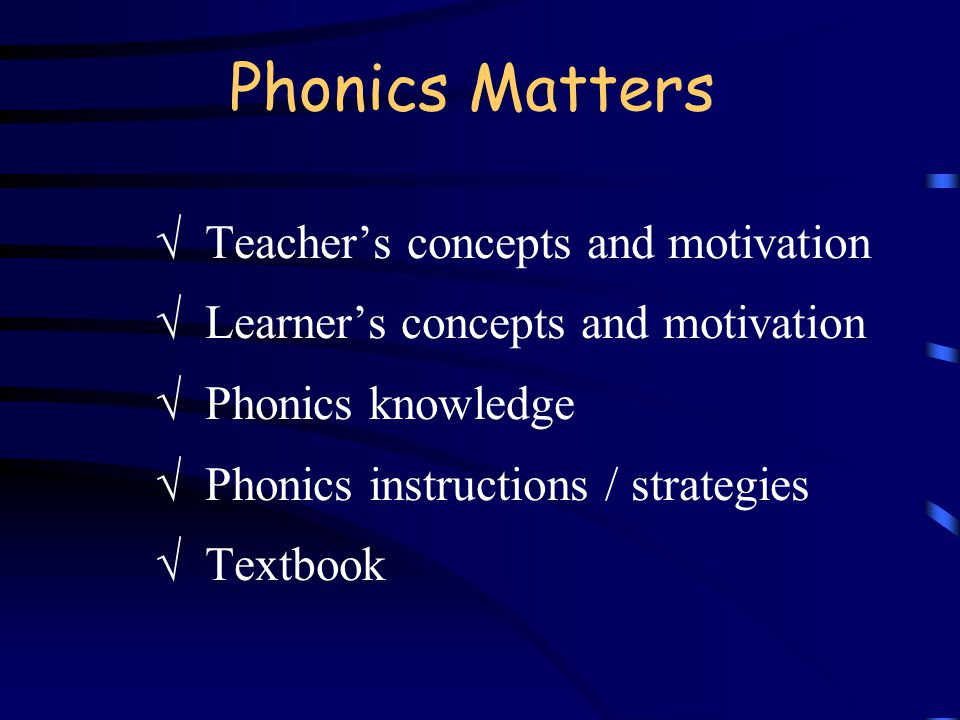 Phonics Matters  Teacher's concepts and motivation  Learner's concepts and motivation  Phonics knowledge  Phonics instructions / strategies  Text