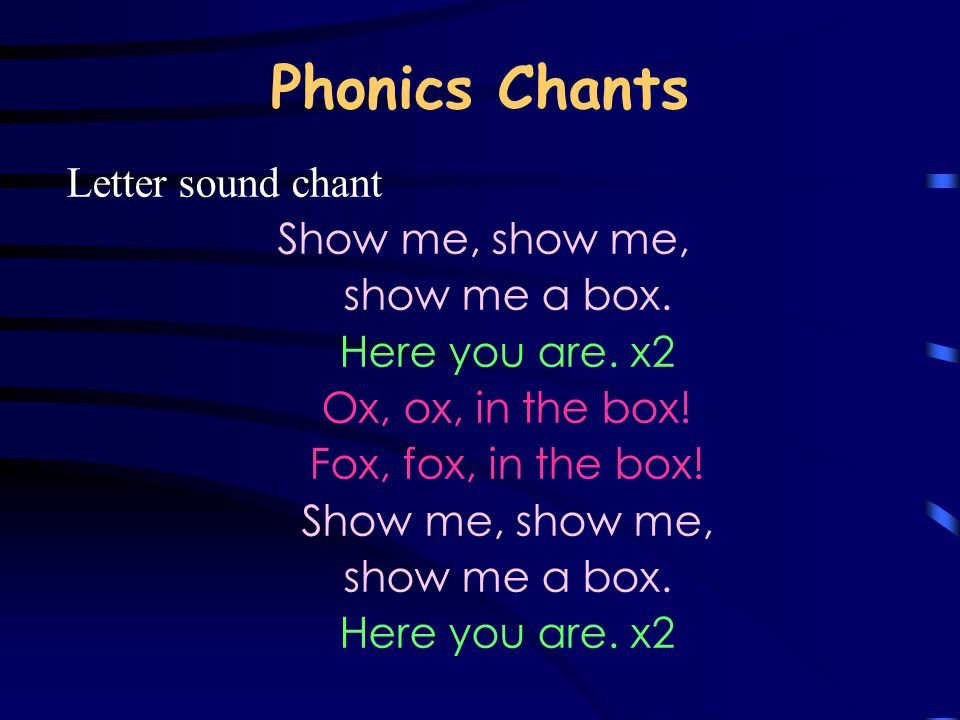 Phonics Chants Letter sound chant Show me, show me, show me a box. Here you are. x2 Ox, ox, in the box! Fox, fox, in the box! Show me, show me, show m