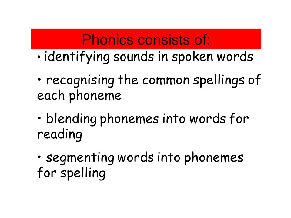 Phonics consists of: identifying sounds in spoken words recognising the common spellings of each phoneme blending phonemes into words for reading segmenting words into phonemes for spelling