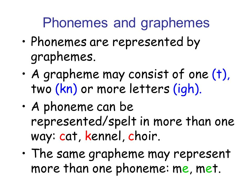 Phonemes and graphemes Phonemes are represented by graphemes.