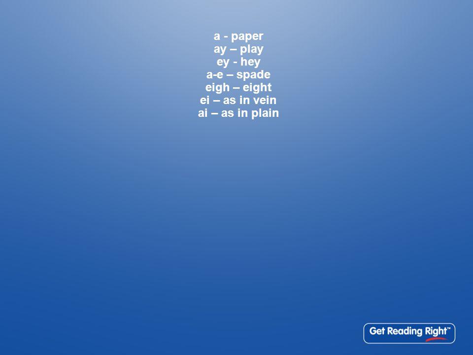 a - paper ay – play ey - hey a-e – spade eigh – eight ei – as in vein ai – as in plain