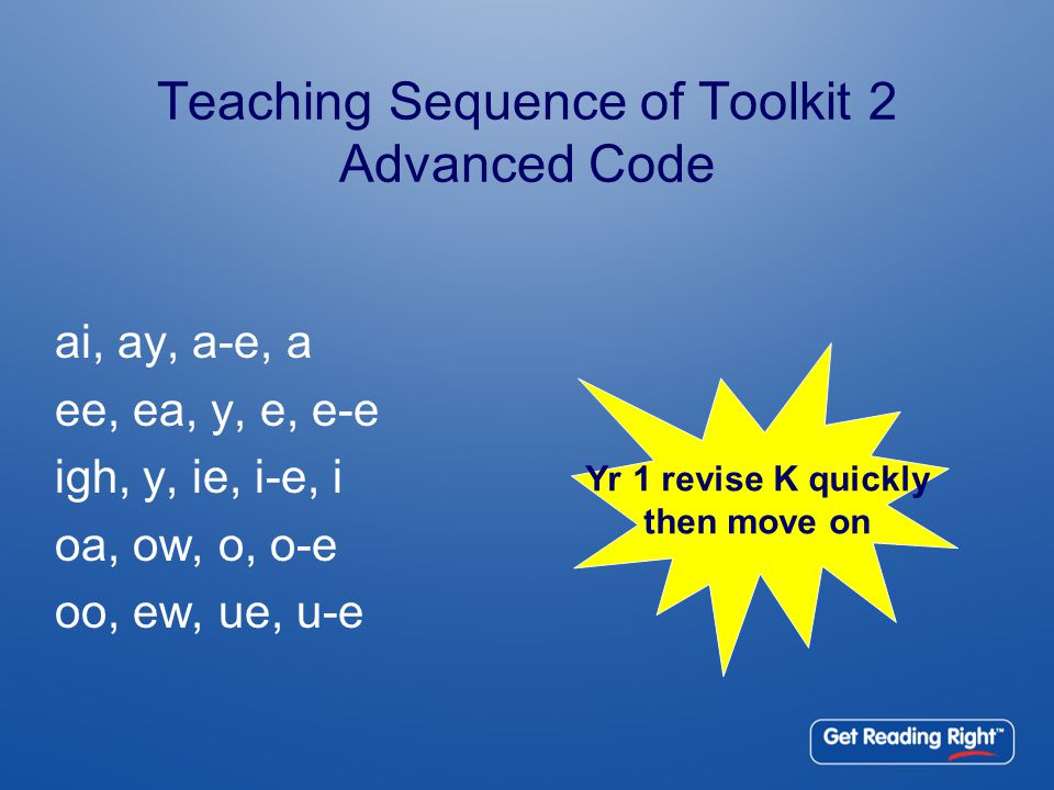 Teaching Sequence of Toolkit 2 Advanced Code ai, ay, a-e, a ee, ea, y, e, e-e igh, y, ie, i-e, i oa, ow, o, o-e oo, ew, ue, u-e Yr 1 revise K quickly