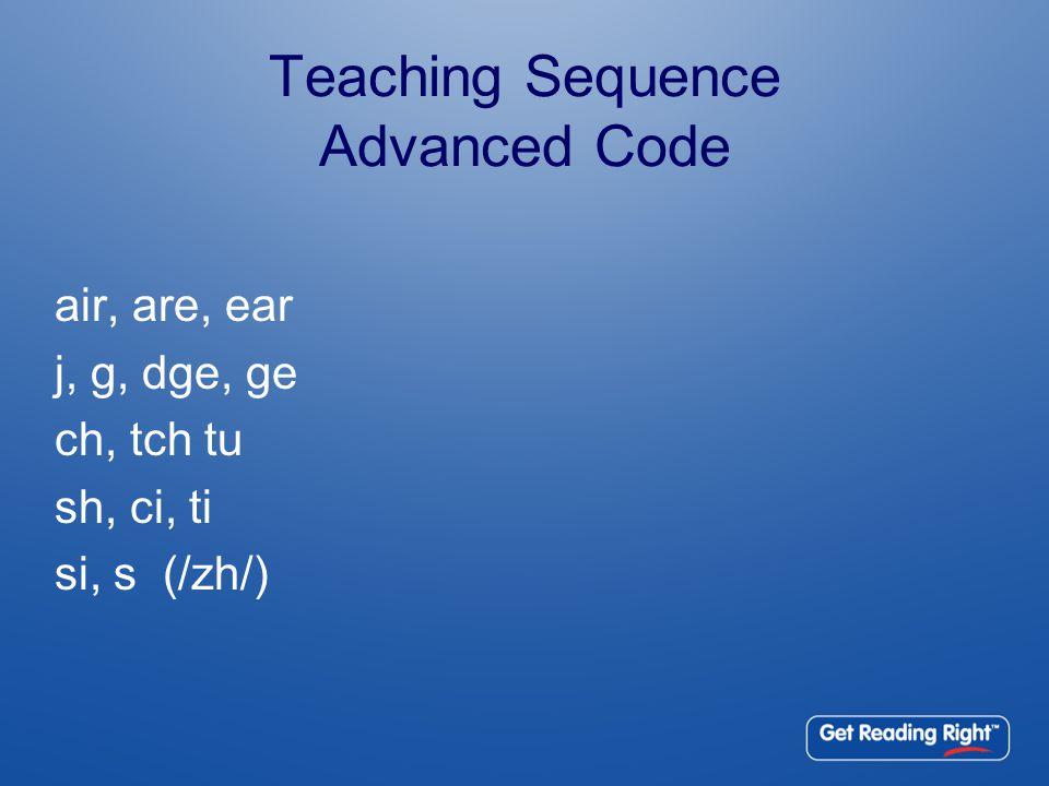 Teaching Sequence Advanced Code air, are, ear j, g, dge, ge ch, tch tu sh, ci, ti si, s (/zh/)