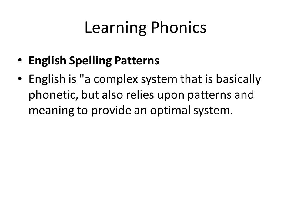 Learning Phonics English Spelling Patterns English is