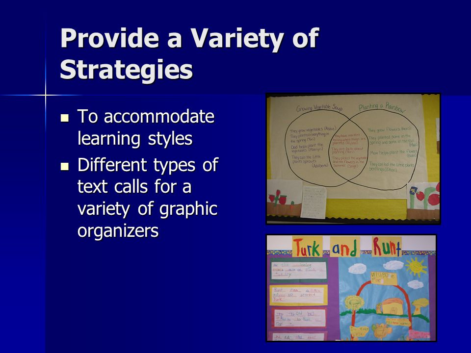 Provide a Variety of Strategies To accommodate learning styles To accommodate learning styles Different types of text calls for a variety of graphic organizers Different types of text calls for a variety of graphic organizers