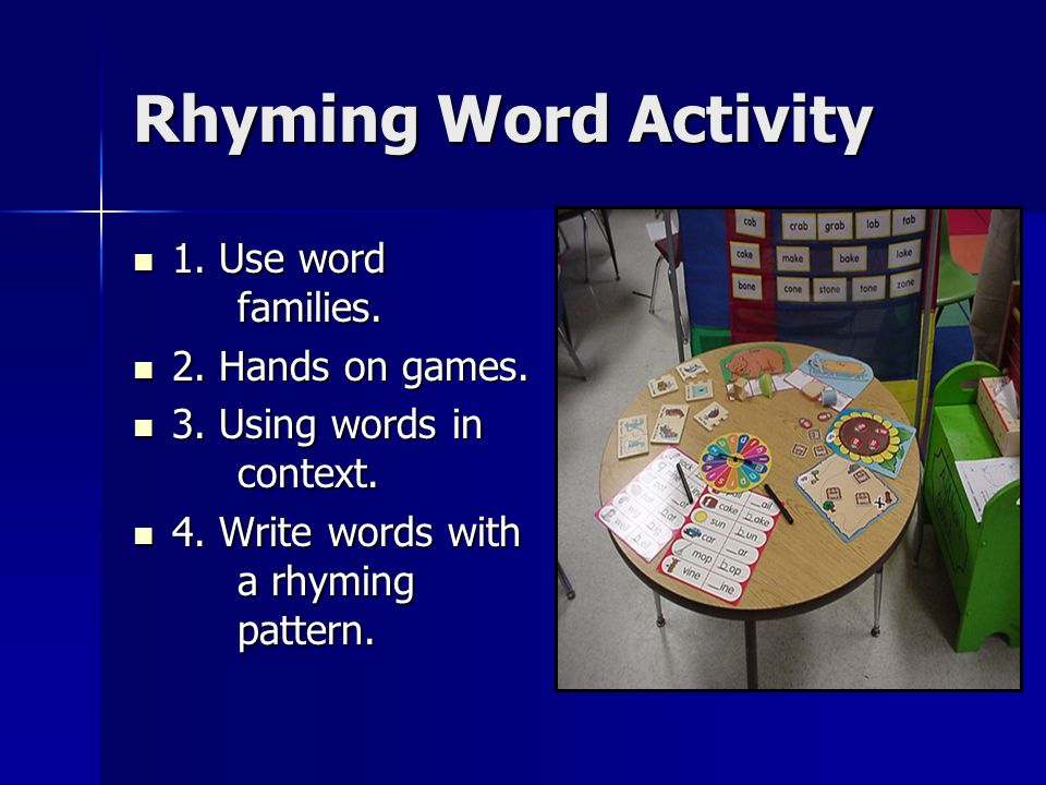 Rhyming Word Activity 1. Use word families. 1. Use word families.
