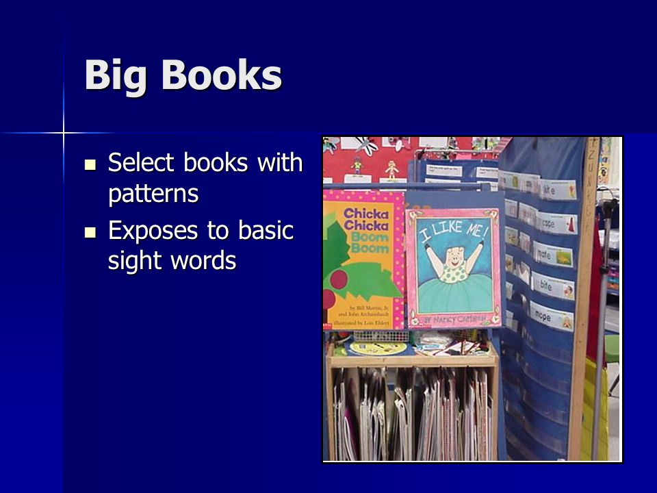 Big Books Select books with patterns Select books with patterns Exposes to basic sight words Exposes to basic sight words