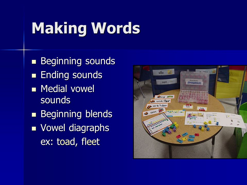 Making Words Beginning sounds Beginning sounds Ending sounds Ending sounds Medial vowel sounds Medial vowel sounds Beginning blends Beginning blends Vowel diagraphs Vowel diagraphs ex: toad, fleet