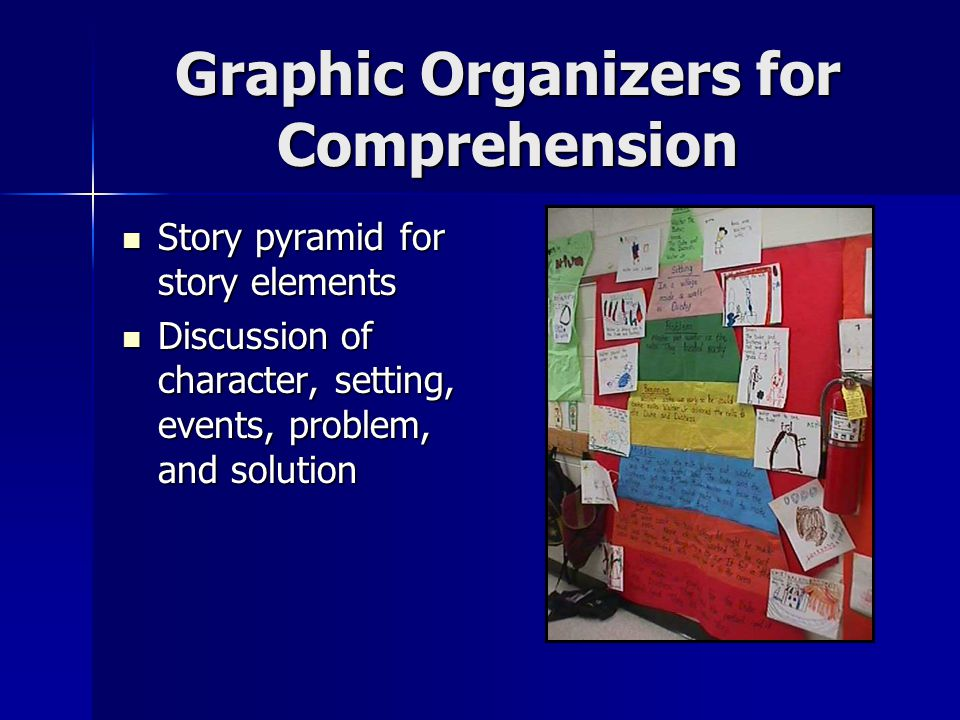 Graphic Organizers for Comprehension Story pyramid for story elements Story pyramid for story elements Discussion of character, setting, events, problem, and solution Discussion of character, setting, events, problem, and solution