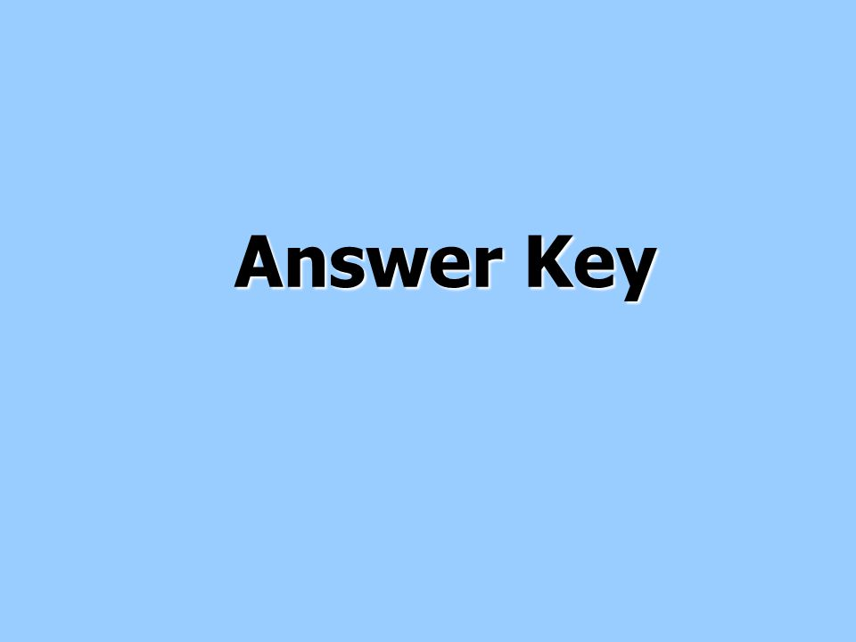 Answer Key Answer Key
