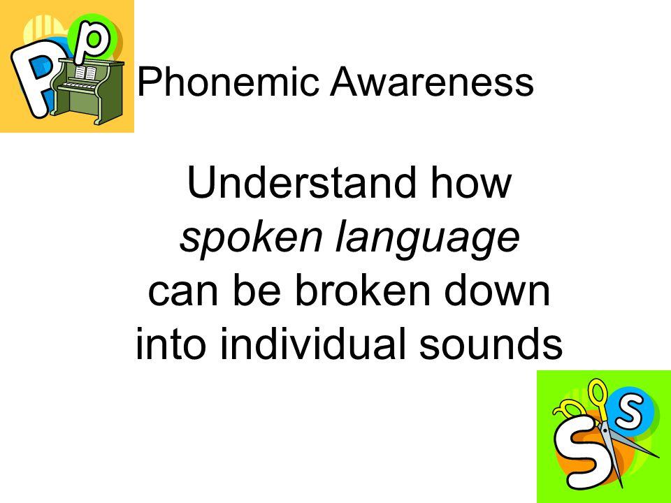 Phonemic Awareness Understand how spoken language can be broken down into individual sounds