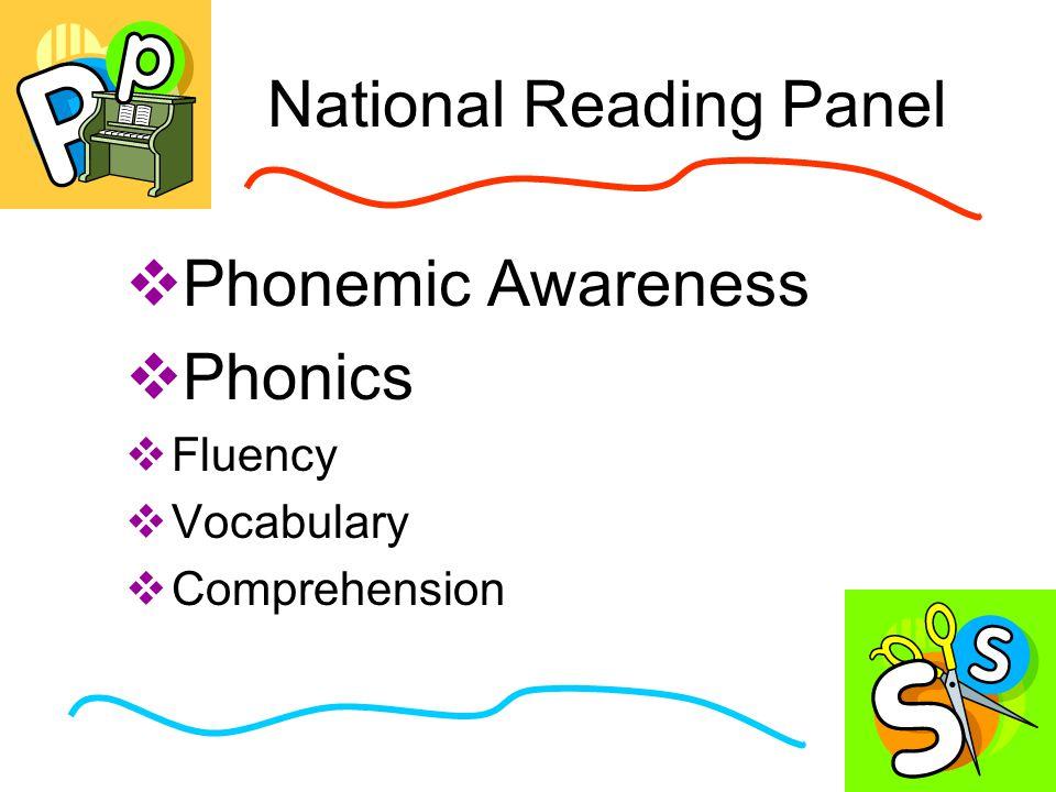 National Reading Panel  Phonemic Awareness  Phonics  Fluency  Vocabulary  Comprehension