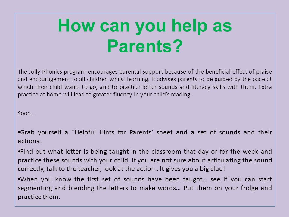 How can you help as Parents.