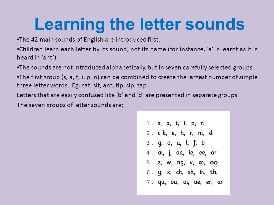 Learning the letter sounds The 42 main sounds of English are introduced first.