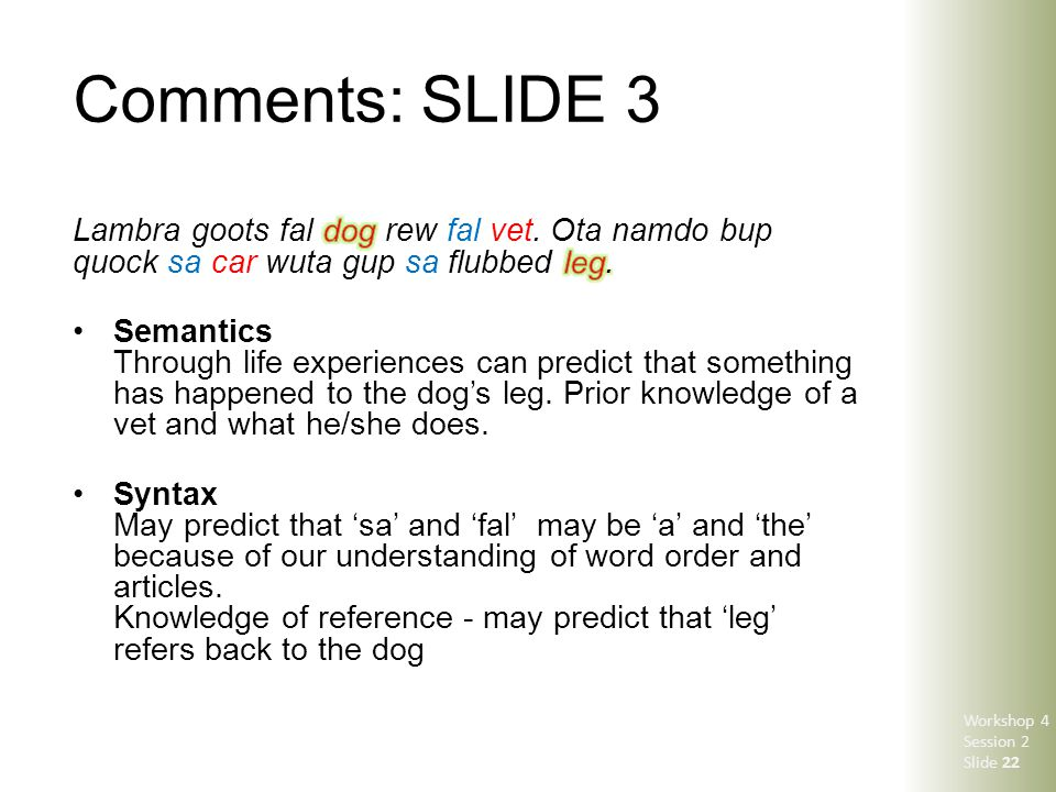 Comments: SLIDE 3 Workshop 4 Session 2 Slide 22