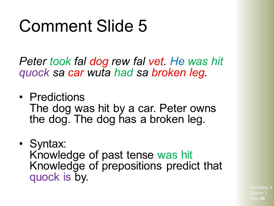 Comment Slide 5 Peter took fal dog rew fal vet. He was hit quock sa car wuta had sa broken leg. Predictions The dog was hit by a car. Peter owns the d