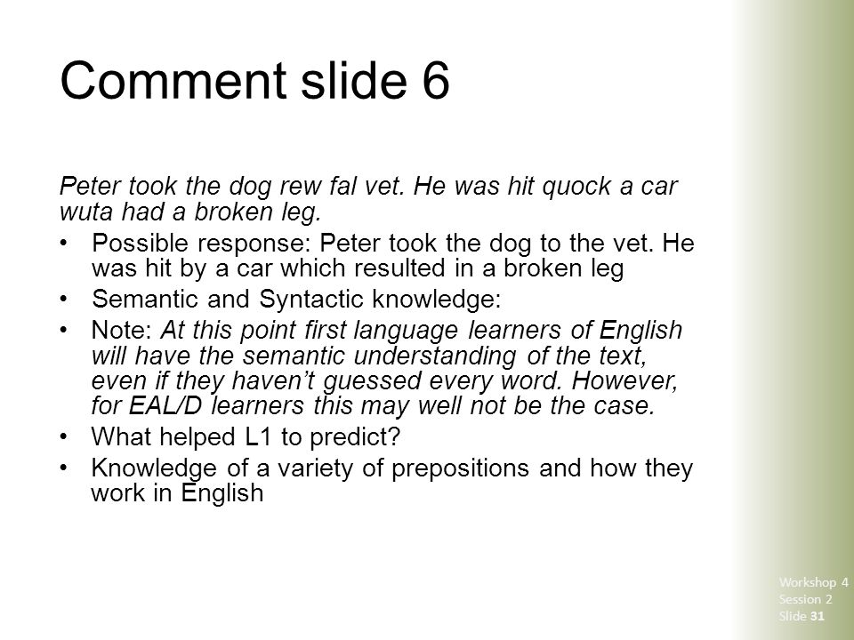 Comment slide 6 Peter took the dog rew fal vet. He was hit quock a car wuta had a broken leg. Possible response: Peter took the dog to the vet. He was